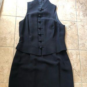 Jones New York black dress Mandarin collar